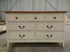 Nordic Style 7 Drawers of Chest with Walnut Finish Top and Antique White Body