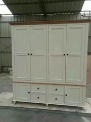 Antique White with Walnut Top Wardrobe 6 doors and 4 drawers in Nordic New Style