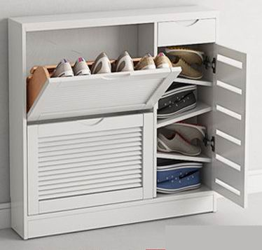 Solid Wood Double Flips Shoe Cabinet with 3 kinds of finish as color option