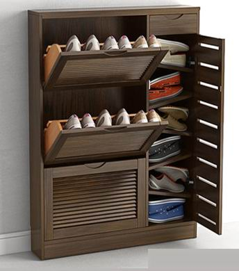 3-Flips shoes cabinets made of solid beech painting in antique white/walnut/natural finishing