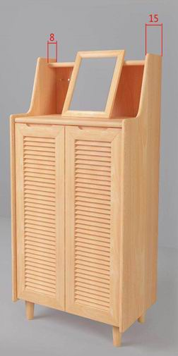 Solid Beech Wood Shoe Cabinet with Photo Frame or Simple Dressing Mirror
