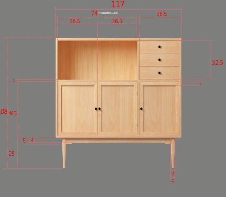 Full Solid Beech Wood Cupboard with 3 drawers and 3 doors Painting in Natural or Walnut Finishing
