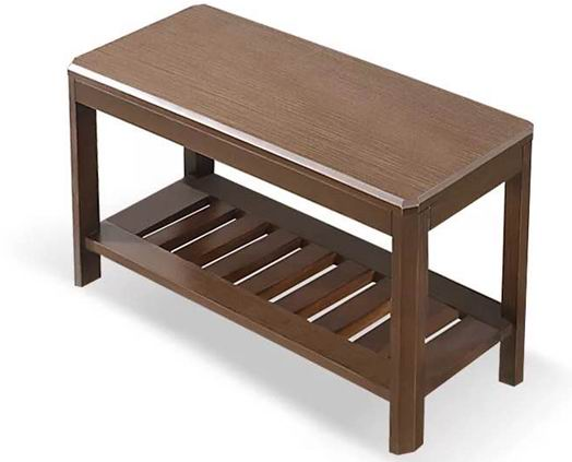 Solid Beech Wood Shoes Bench with Bottom Rails Shelf Painting in Natural or Walnut Finishes