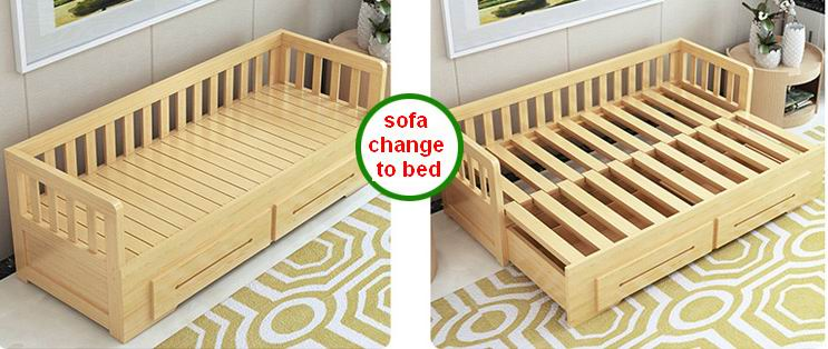 Solid Pine Wood Multifunctional and Foldable Sofa Bed