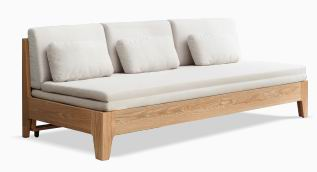 Solid White Oak Multi-functional furniture-3 Seaters Sofa Sleeper