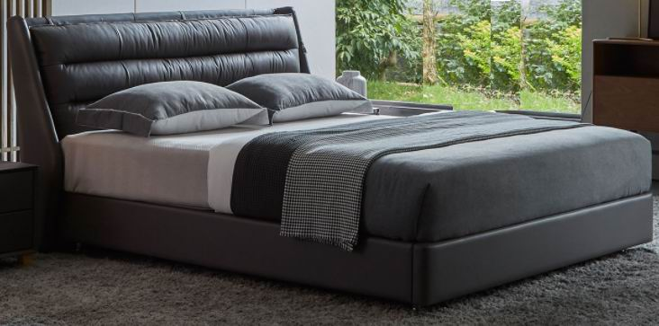 Nordic Modern Simple Leather Soft Bed,top grain leather double beds