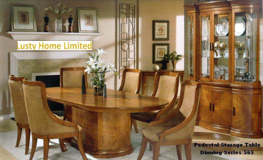 Fine American Village Style Pratical and Popular Pedestal Storage Table Dinning Series