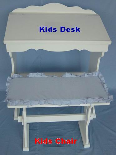 Kids Study Desk with Kids Bench Combination in Antique white painting