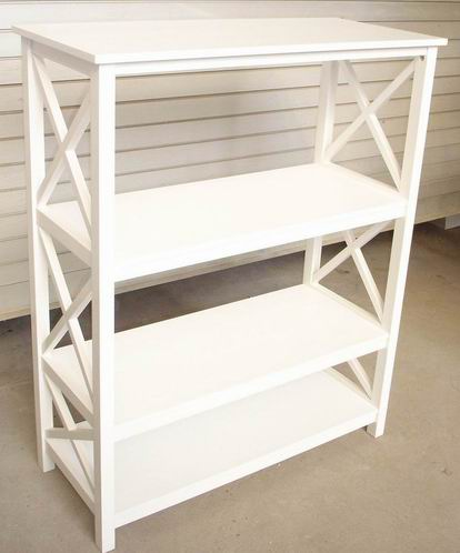 Antique Furniture 4 Tiers Bookshelf in Antique White Painting