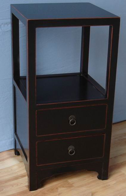 Telephone Table with 2 drawers painting in brown edges