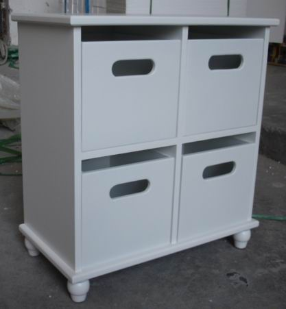 Antique White Painting Bathroom Storage Cabinet with 4 drawers