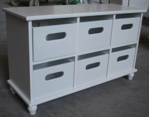 Antique White Painting Bathroom Storage Cabinet with 6 drawers