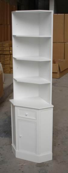 Corner Bookshelf Painting in Antique White Finishing with Cabinet Base