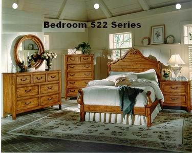 Panel bed 522 Bedroom Series Painting in Antique American Village Distressing Finishing