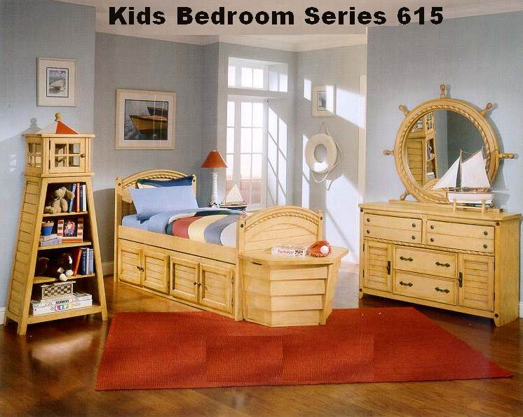 Captain's Bedroom Series for Kids in Antique Natural Pine Finishing