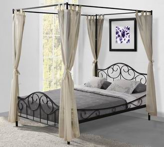 SHELBY Single and double sized bed with canopy in white or black powder coating